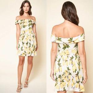 Sugarlips lemon print dress off the shoulder